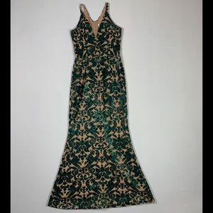 Dress the population green sequins gown Medium
